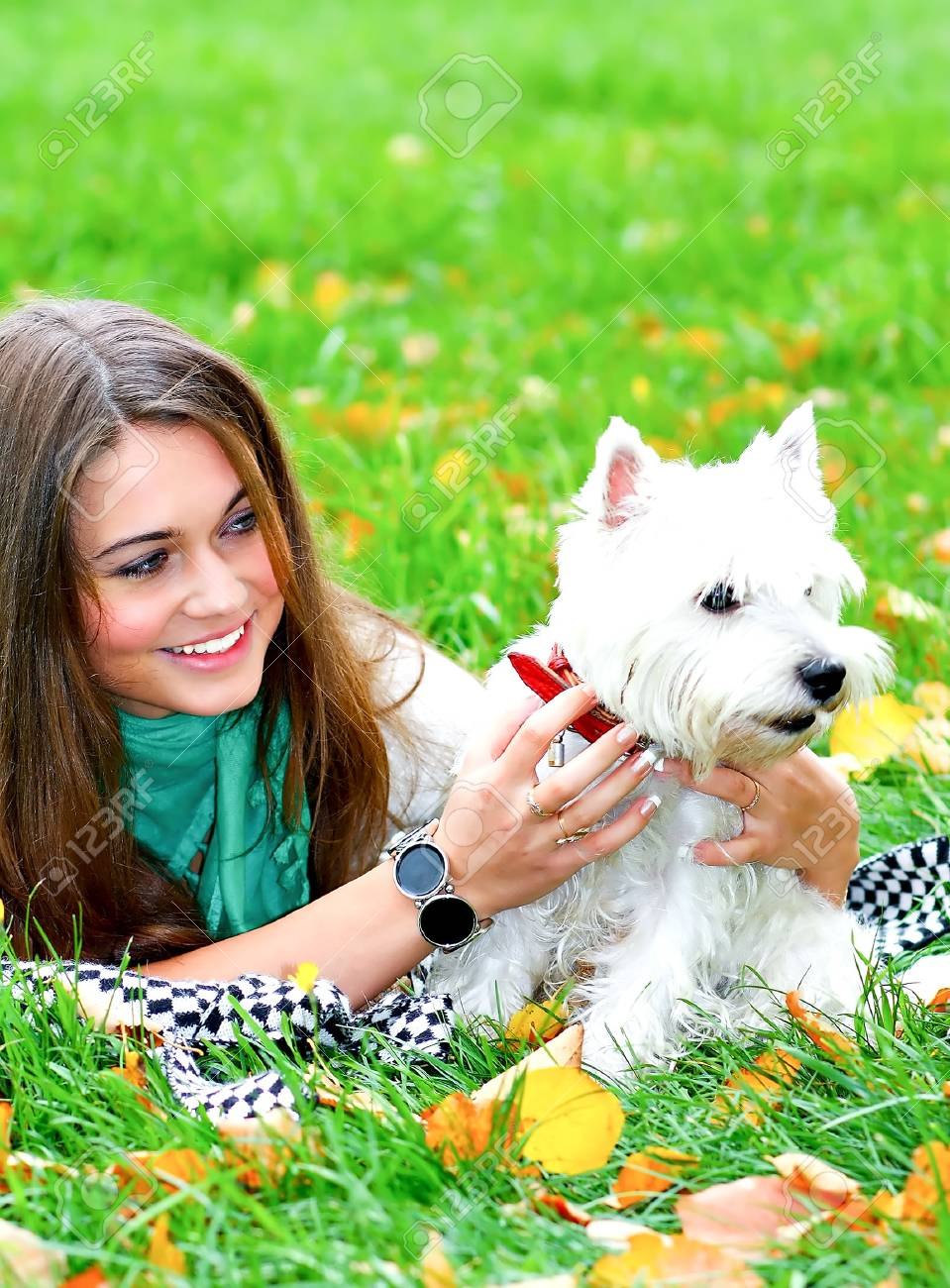 portrait of beautiful girl lying with her dog Stock Photo - 8156591