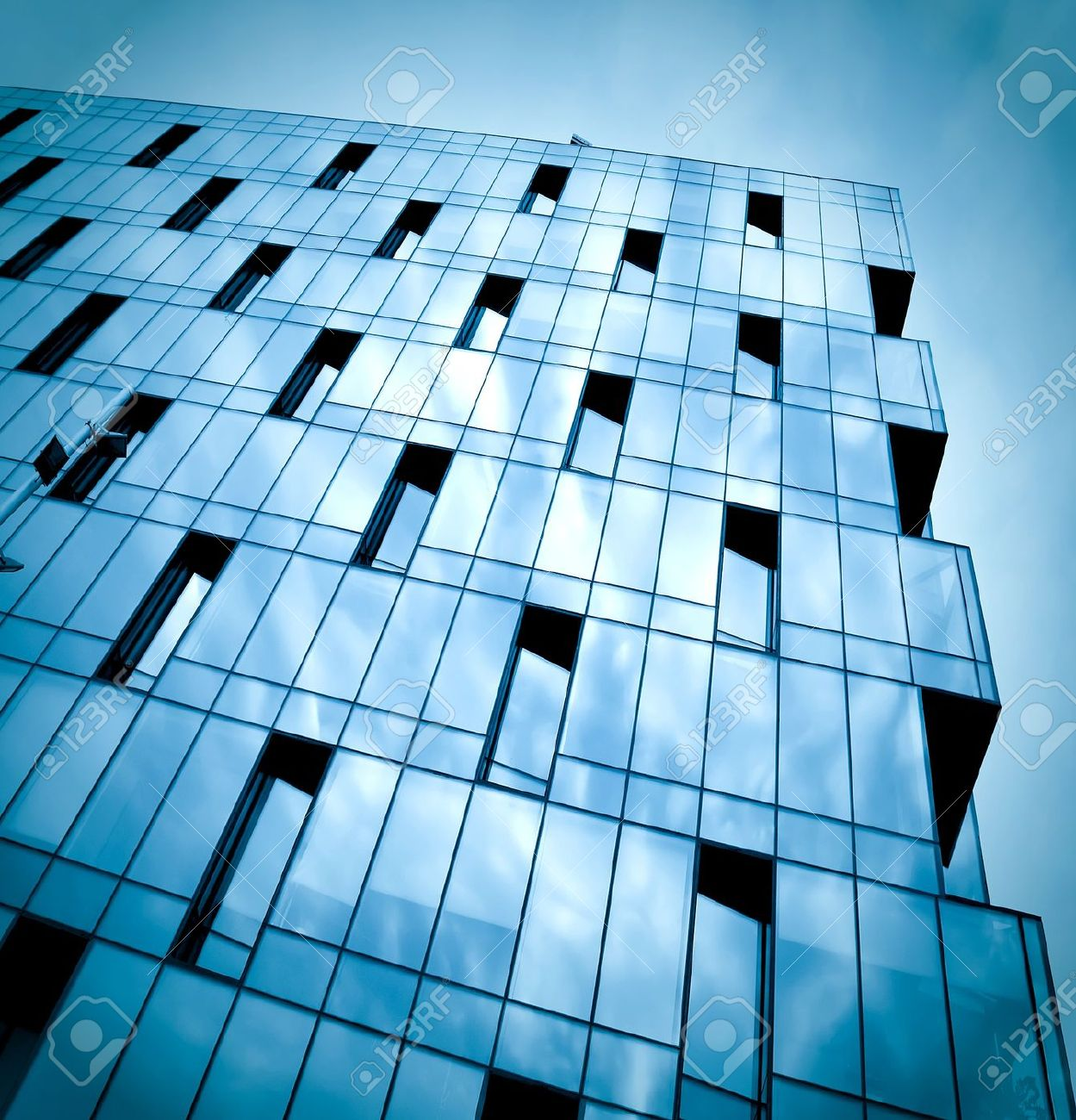 Dark Texture Of Glass Building At Night Stock Photo Picture And
