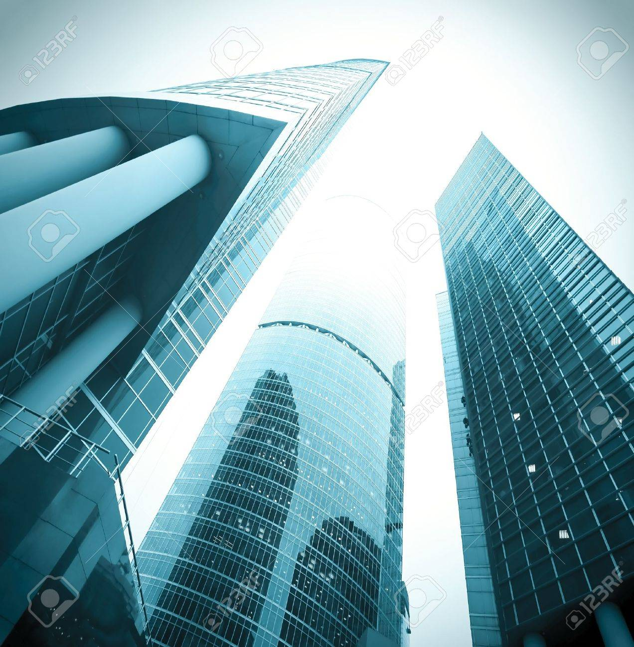 office buildings in the morning, wide angle view Stock Photo - 9199213