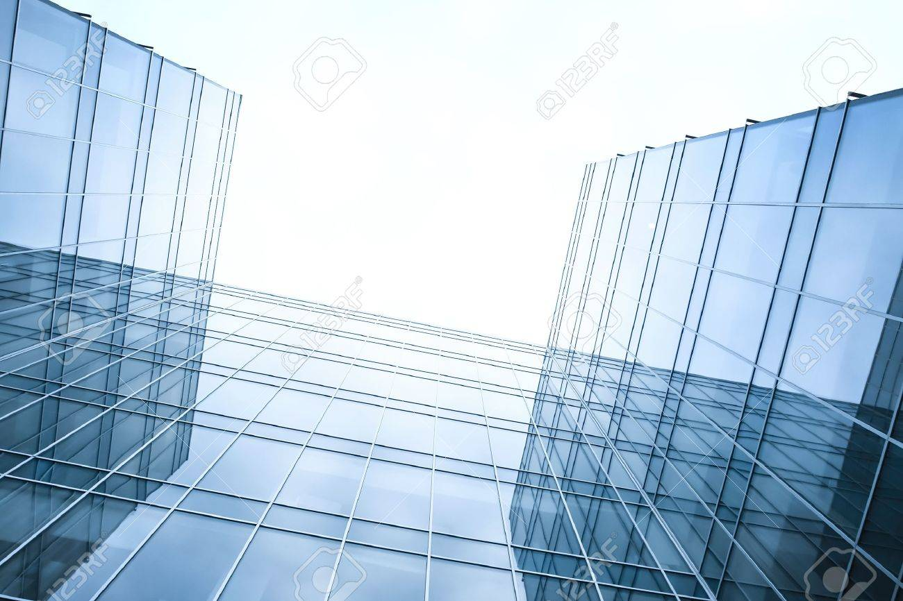 disappearing luminosity glass office buildings in the morning, wide angle view Stock Photo - 9198682