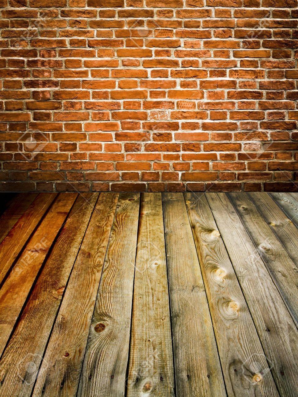 abstract brick wall and wood floor Stock Photo - 9351965