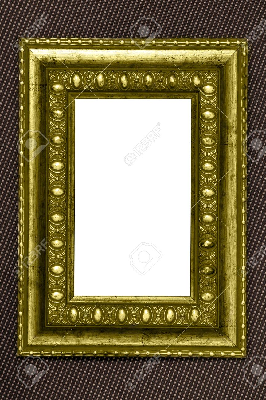 vintage metal frame with white background over fabric texture Stock Photo - 9351942