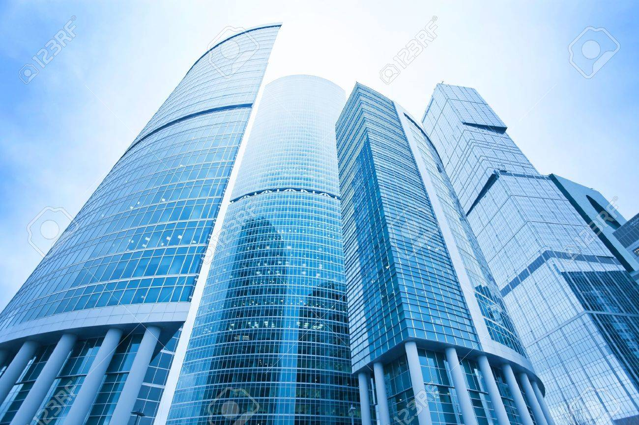 futuristic structure of office skyscrapers in the morning, wide angle view Stock Photo - 9536386