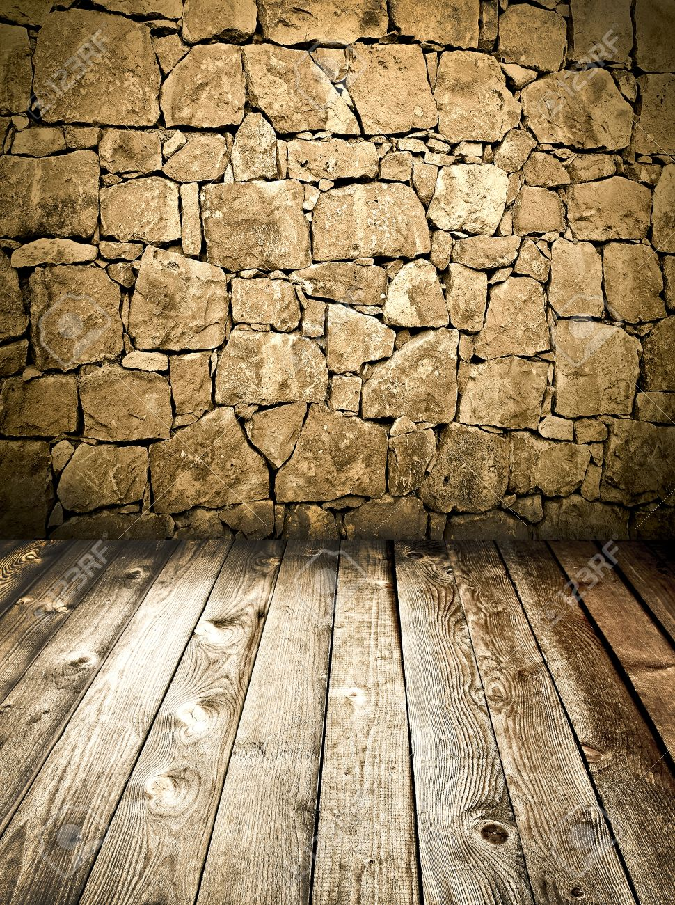 stone wall and wooden floor Stock Photo - 10217100