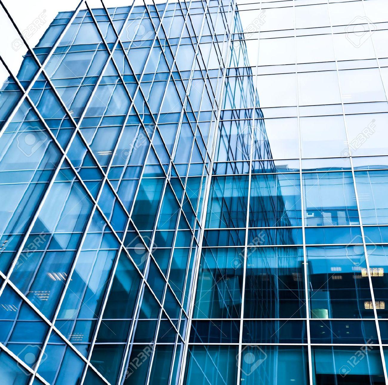 textura azul de la pared de vidrio moderno foto de archivo
