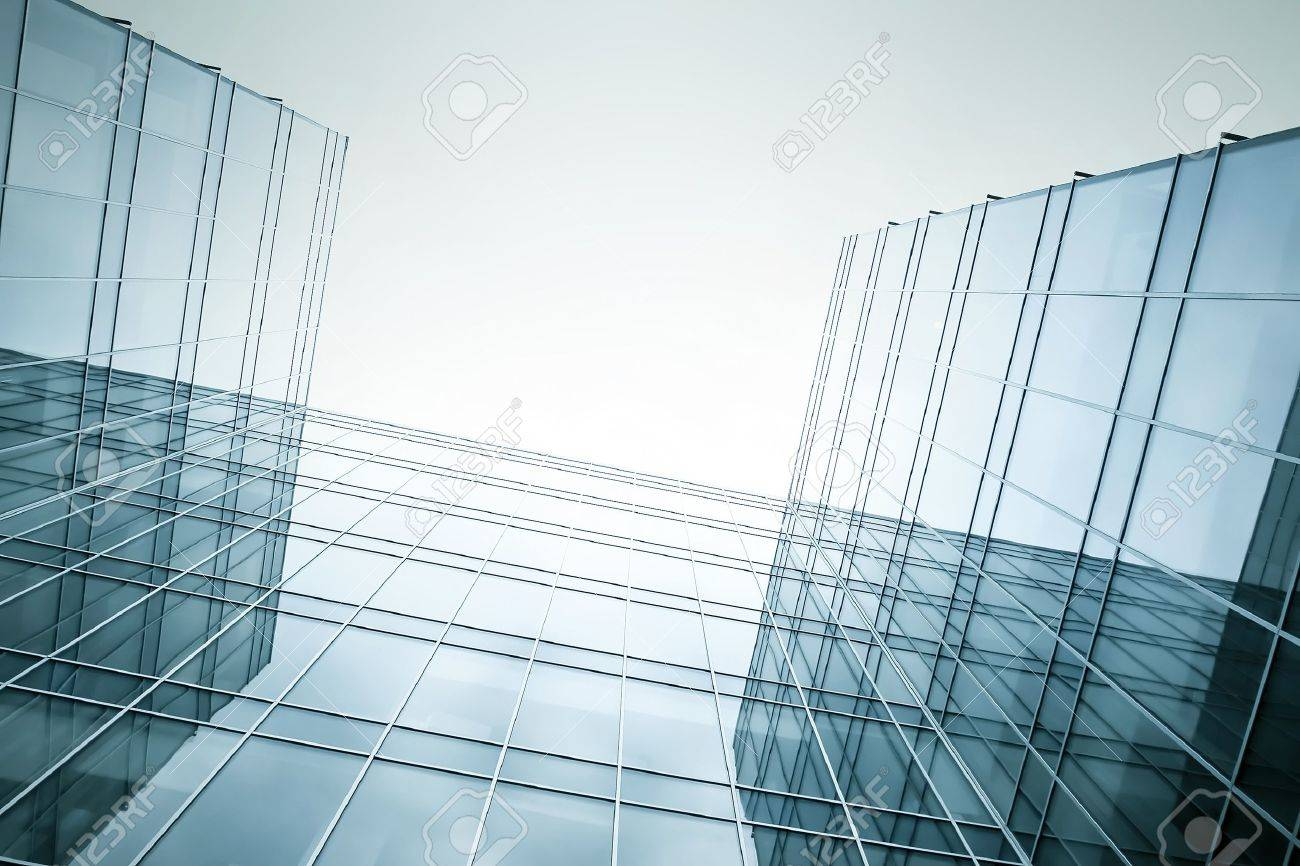 disappearing luminosity glass office buildings in the morning, wide angle view Stock Photo - 10980597