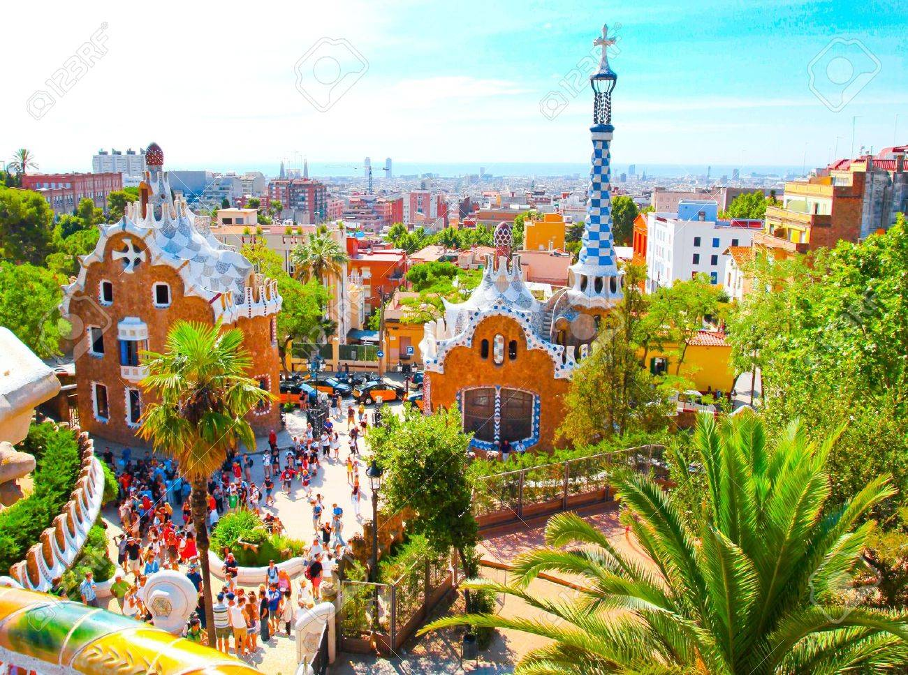 The Famous Summer Park Guell over bright blue sky in Barcelona, Spain Stock Photo - 19484447