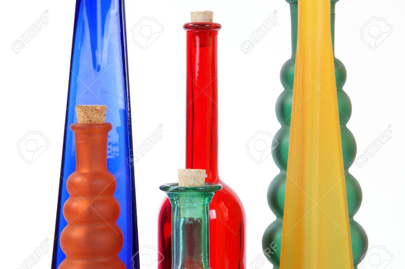 colored glass vases on a white background stock photo 11332316 - Colored Glass Vases