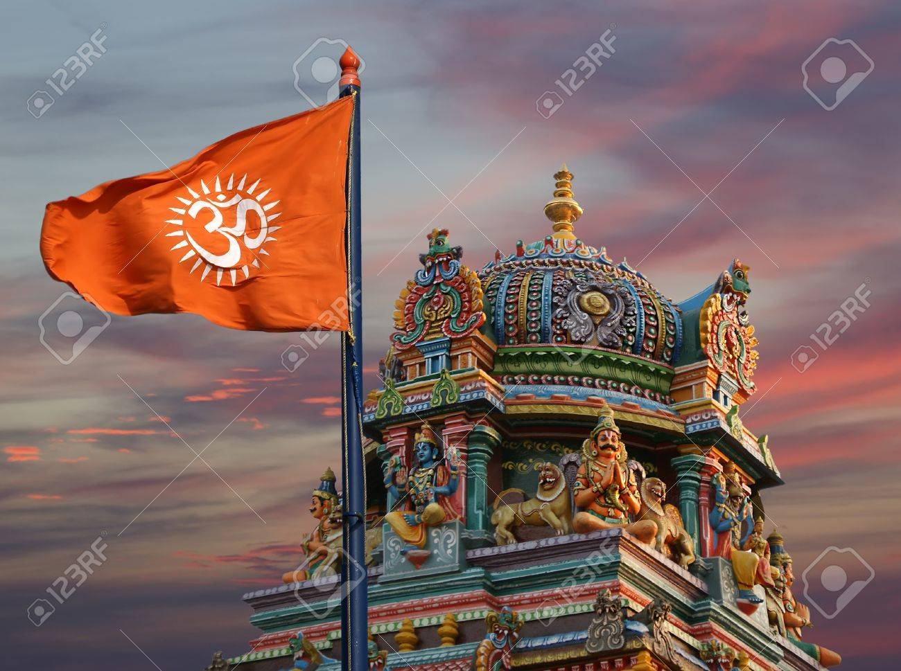 Flag with a sign Om or Aum --is a sacred, mystical syllable in the Dharma or Indian religions, i.e. Hinduism, Jainism, and Buddhism Stock Photo - 11407126