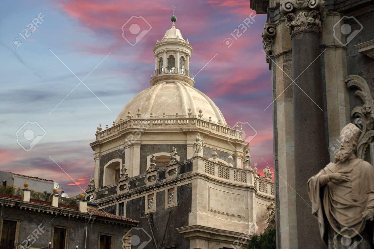 catholic church of catania. sicily, southern italy. baroque