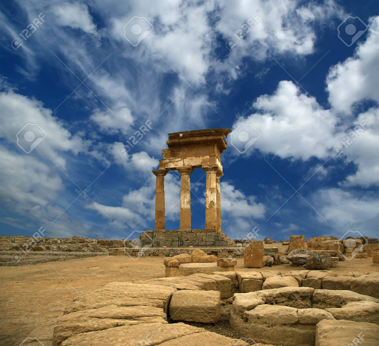 Ancient Greek Temple of the Dioscuri (V-VI century BC), Valley of the Temples, Agrigento, Sicily. The area was included in the UNESCO Heritage Site list in 1997 Stock Photo - 12237052
