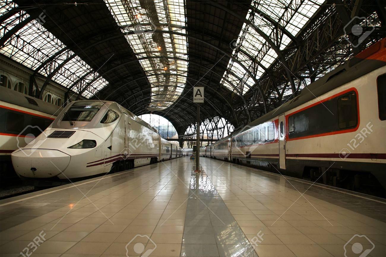 Trains at the railroad station (Estacio de Francia) in Barcelona, Spain. Stock Photo - 12994214