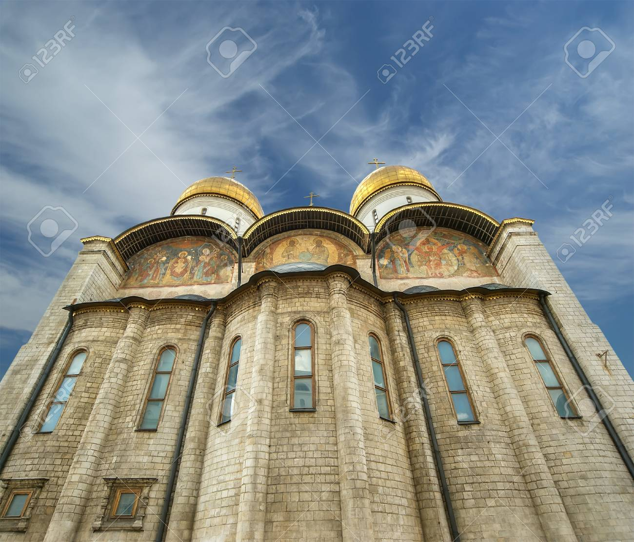 The Assumption Cathedral  was the site of coronation of Russian tsars , Moscow Kremlin Stock Photo - 15873831
