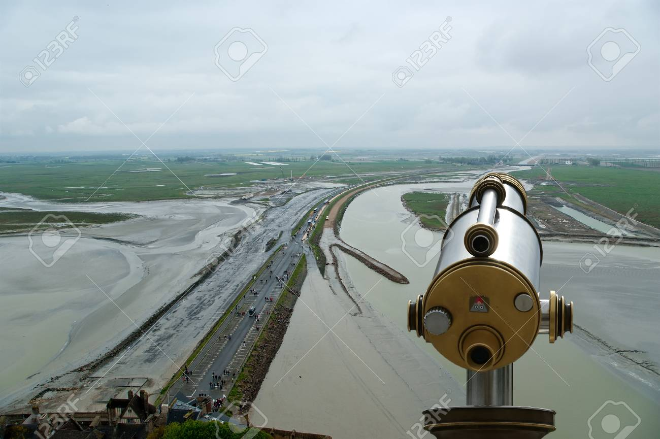 Telescope viewer and  View from Mont Saint-Michel, Normandy, France--one of the most visited tourist sites in France Stock Photo - 17141105