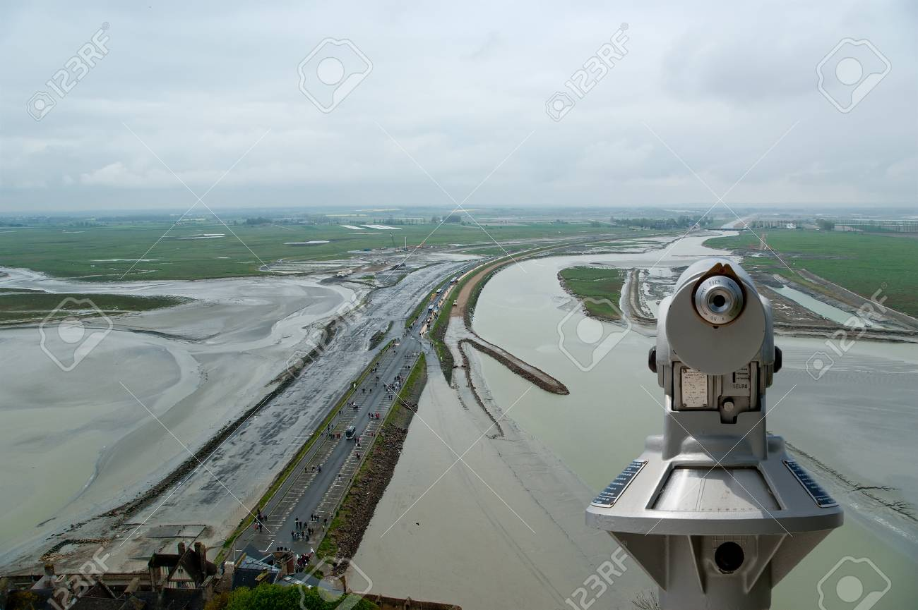 Telescope viewer and  View from Mont Saint-Michel, Normandy, France--one of the most visited tourist sites in France Stock Photo - 17141318