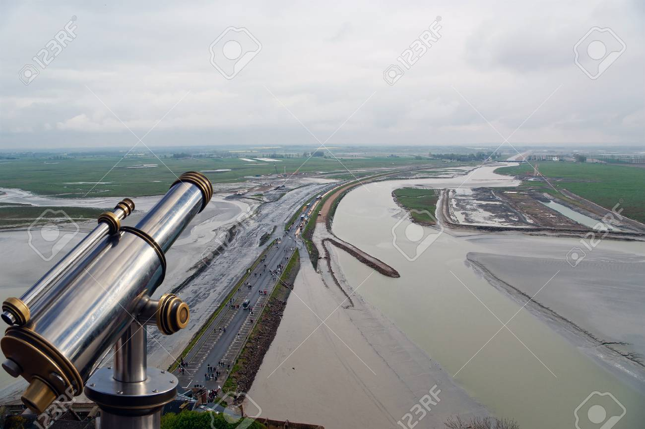 Telescope viewer and  View from Mont Saint-Michel, Normandy, France--one of the most visited tourist sites in France Stock Photo - 17141320