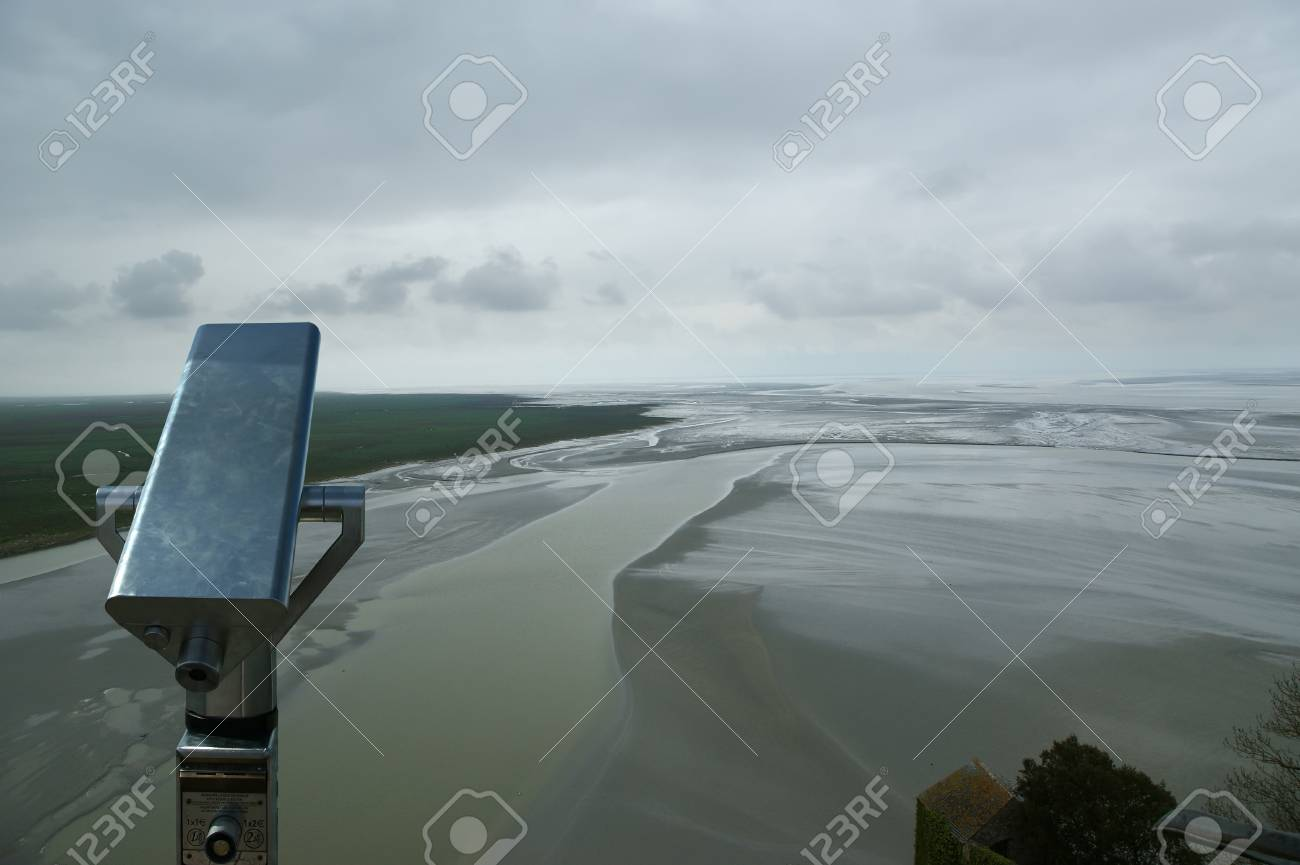 Telescope viewer and  View from Mont Saint-Michel, Normandy, France--one of the most visited tourist sites in France Stock Photo - 17088751