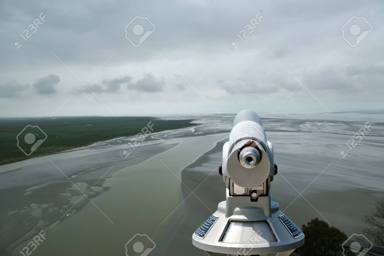 Telescope viewer and  View from Mont Saint-Michel, Normandy, France--one of the most visited tourist sites in France Stock Photo - 17089011