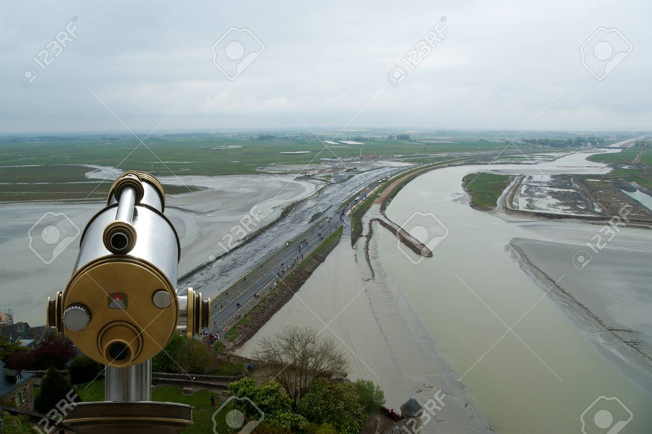 Telescope viewer and  View from Mont Saint-Michel, Normandy, France--one of the most visited tourist sites in France Stock Photo - 17141341
