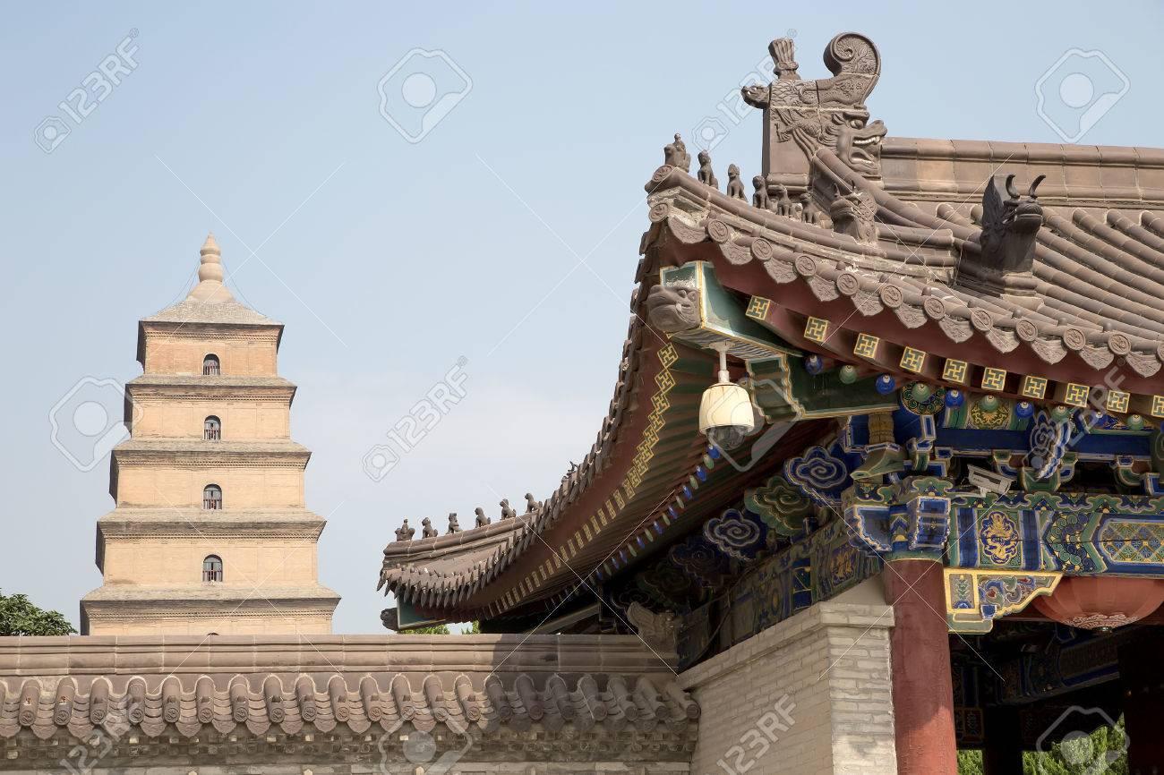 Giant Wild Goose Pagoda (Big Wild Goose Pagoda), is a Buddhist pagoda located in southern Xian (Sian, Xi'an), Shaanxi province, China Stock Photo - 25507624
