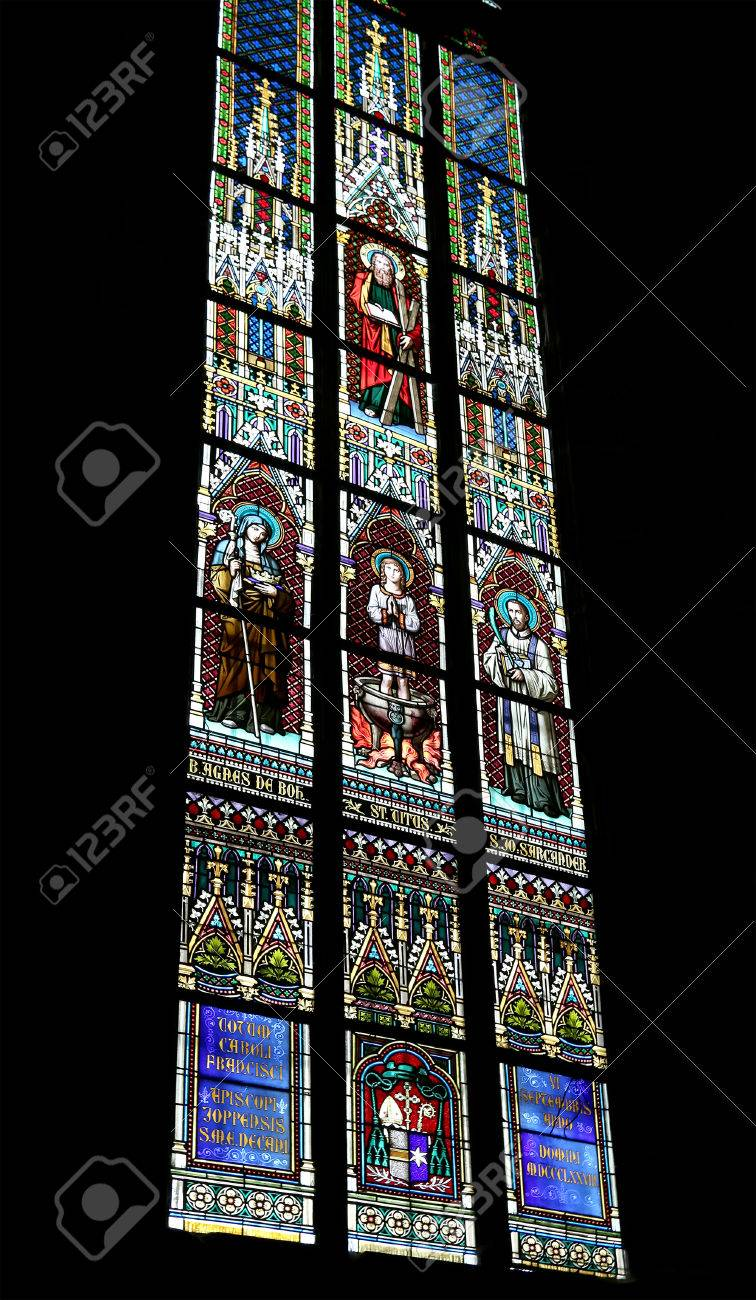 Stained Glass Window Art.Art Nouveau Painter Alfons Mucha Stained Glass Window In St