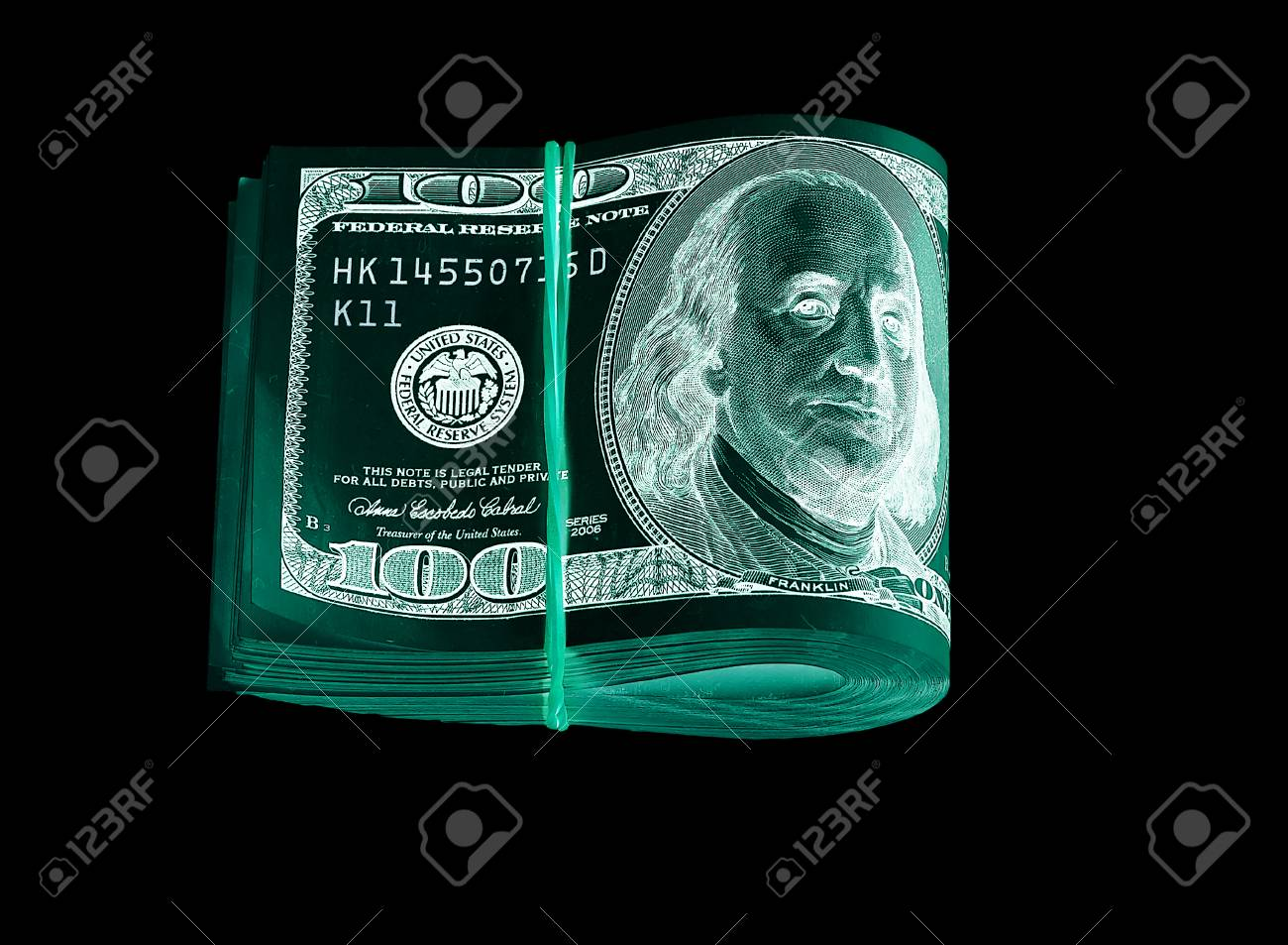 One hundred dollar bills (banknotes ) close up, U S  currency--