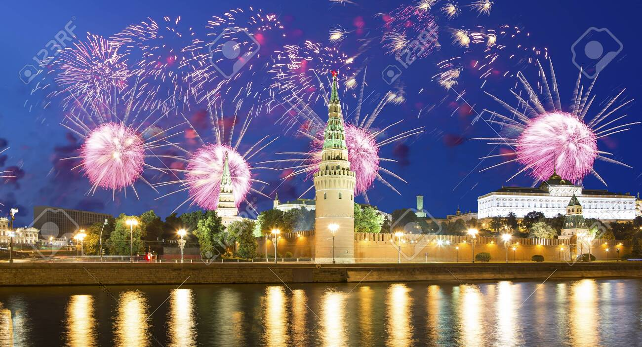Moscow Kremlin and fireworks in honor of Victory Day celebration (WWII), Red Square, Moscow, Russia-- the most popular view of Moscow - 142525983