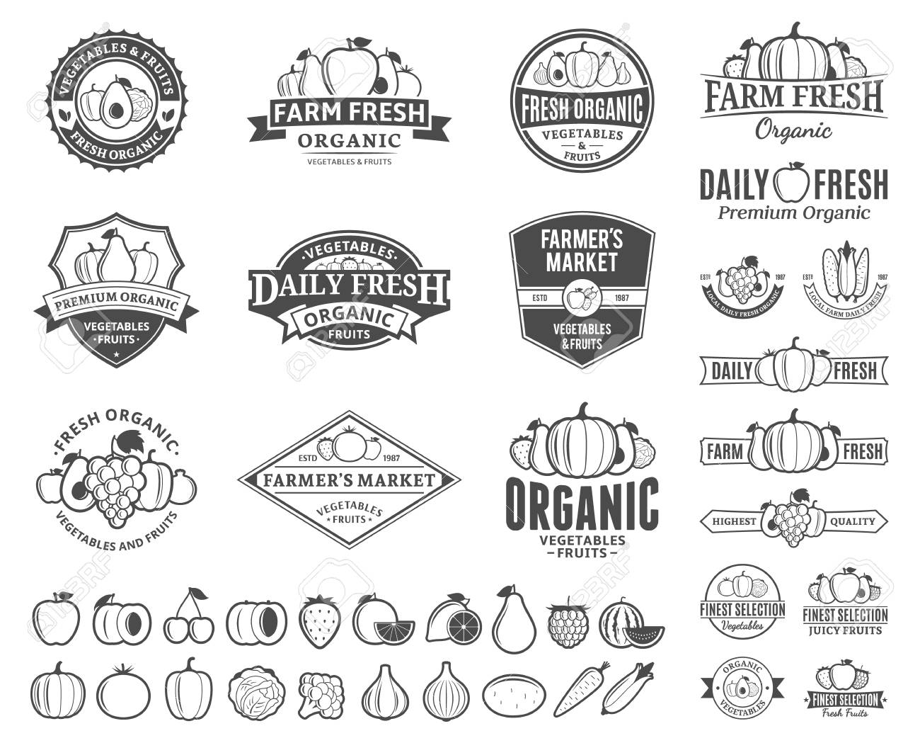 Set Of Fruit And Vegetables Logo Templates Royalty Free Cliparts Vectors And Stock Illustration Image 95742490