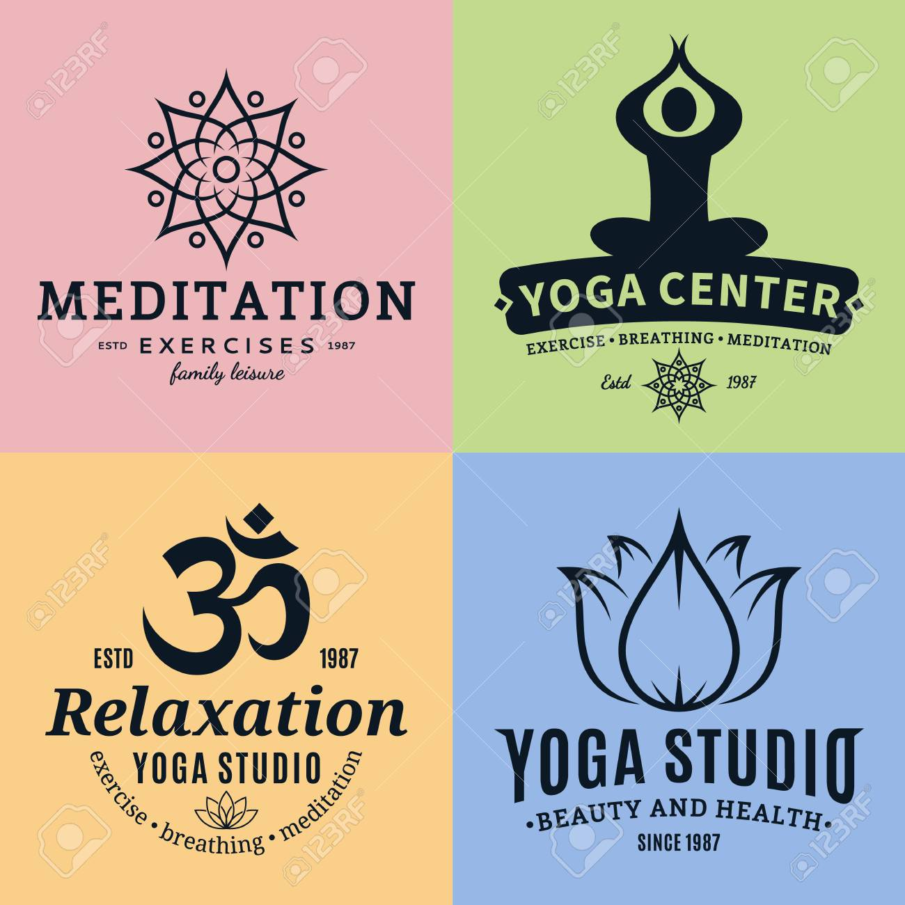 set of yoga studio and meditation class logos yoga icons and royalty free cliparts vectors and stock illustration image 97075528 set of yoga studio and meditation class logos yoga icons and