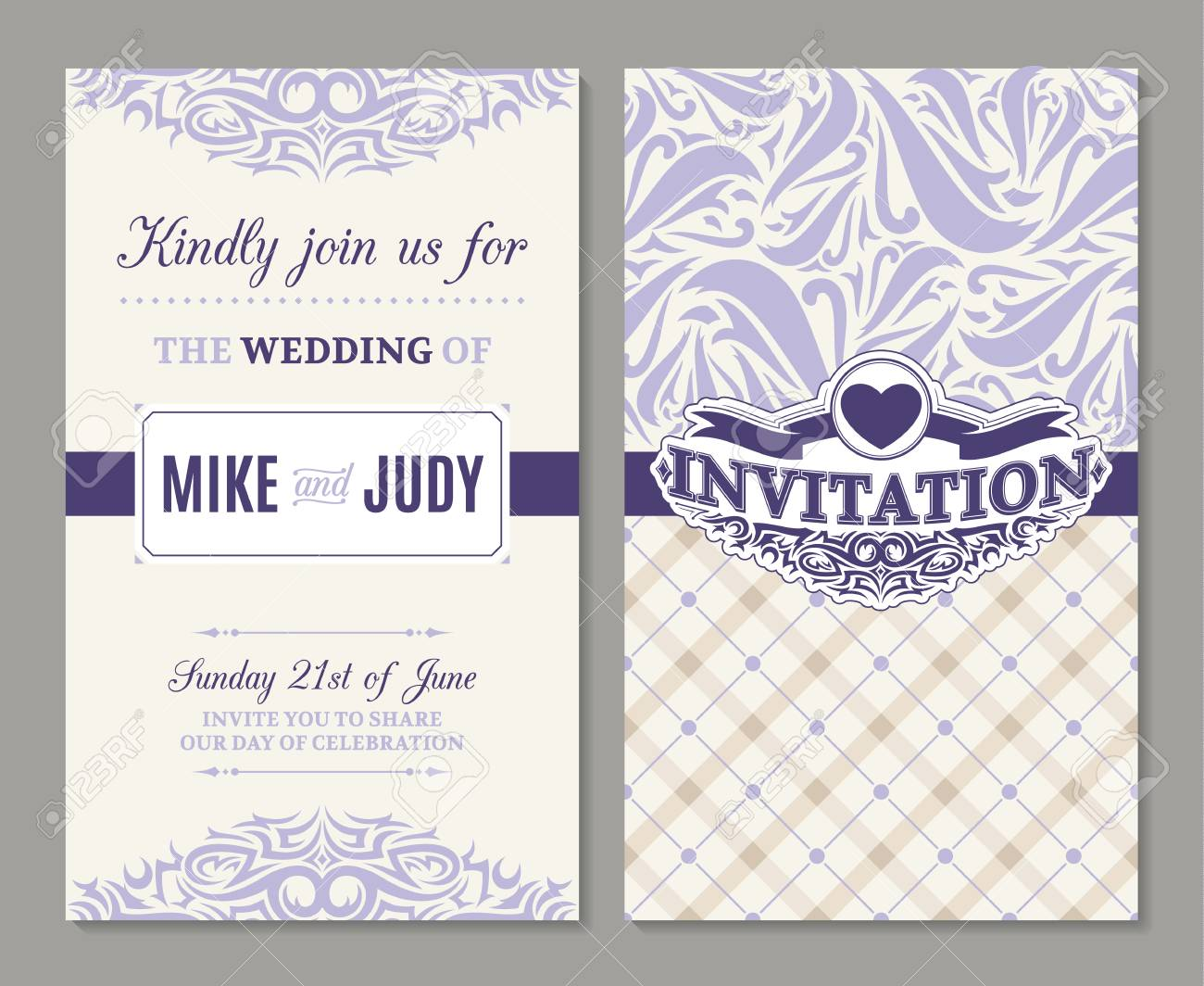 Beautiful Wedding Announcements.Vector Beautiful Ornate Wedding Invitation Announcements Or