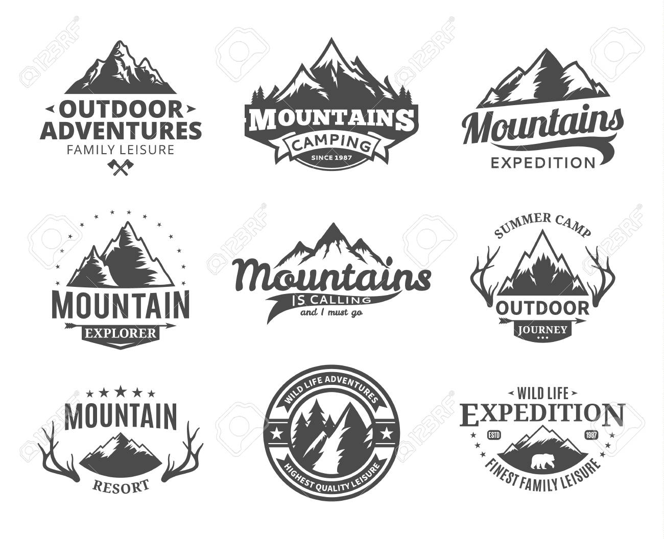 Set Of Vector Mountain And Outdoor Adventures Logo Tourism Royalty Free Cliparts Vectors And Stock Illustration Image 97073011