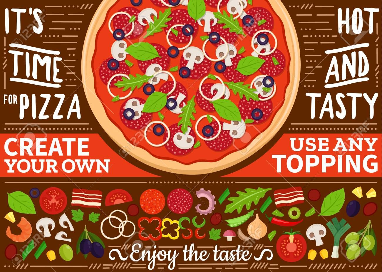 vector pizza menu illustration for restaurant and cafe create