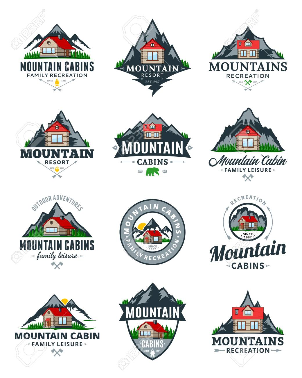 Set Of Vector Mountain Adventures Outdoor Recreation And Cabin Royalty Free Cliparts Vectors And Stock Illustration Image 101955338