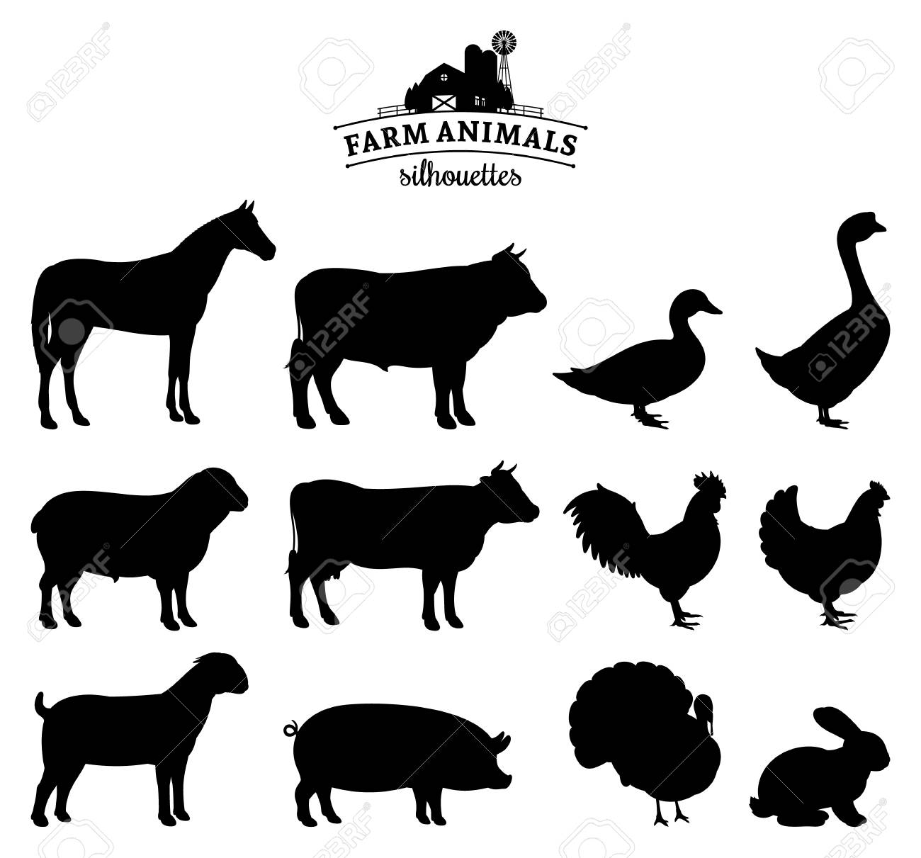 Vector farm animals silhouettes isolated on white. - 105948215