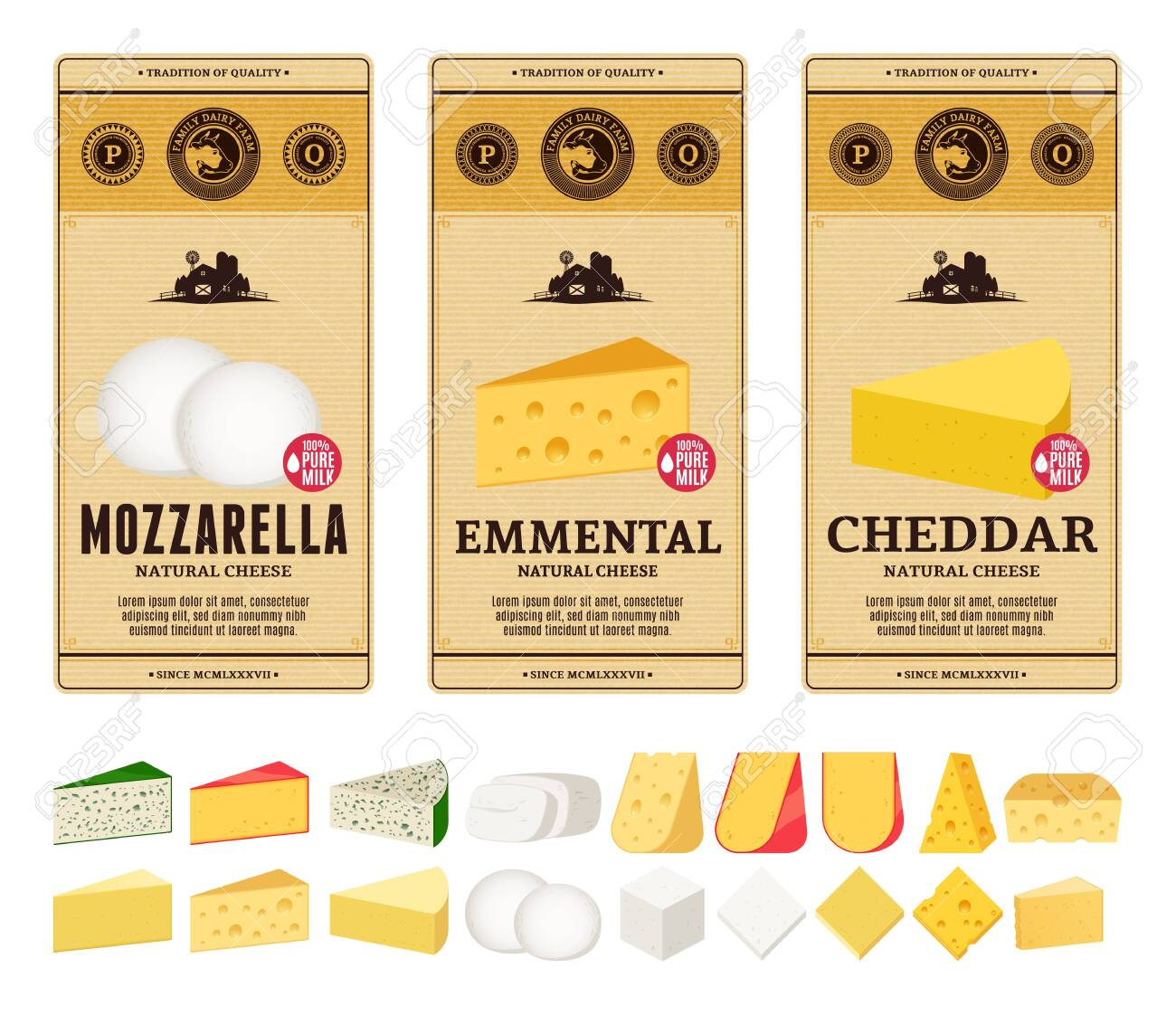 Vector Cheese Vintage Labels And Packaging Design Templates