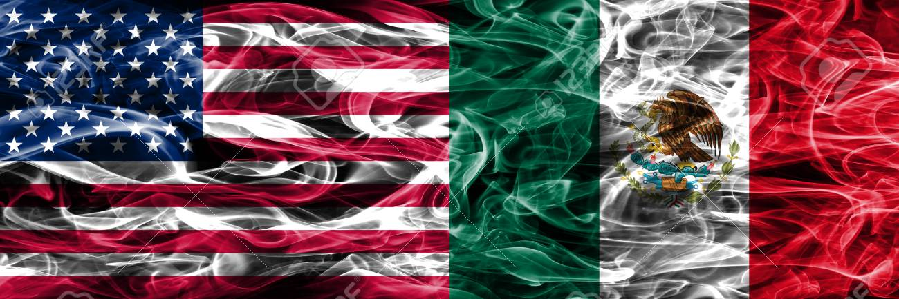 United States Vs Mexico Smoke Flags Concept Placed Side By Side
