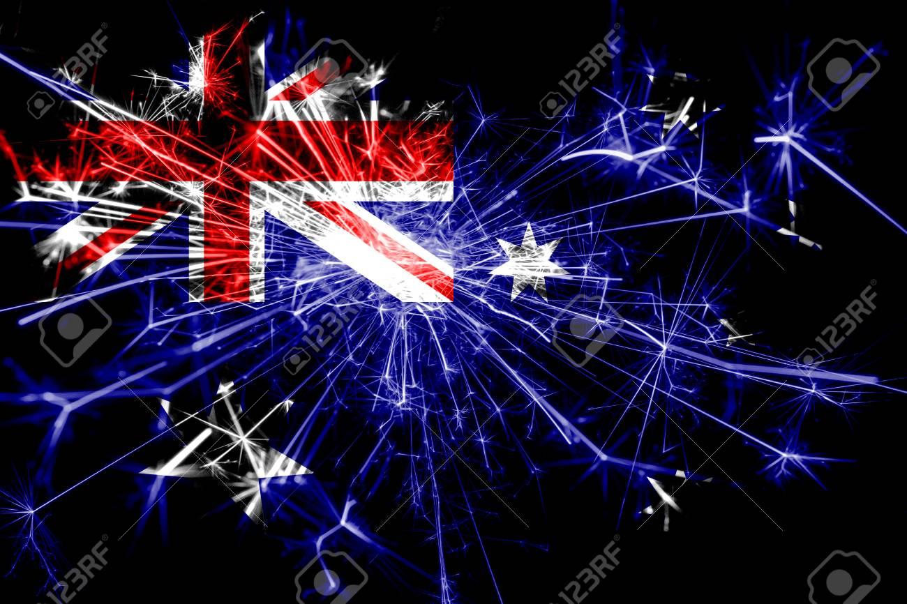Australia Christmas 2019 Australia Fireworks Sparkling Flag. New Year 2019 And Christmas