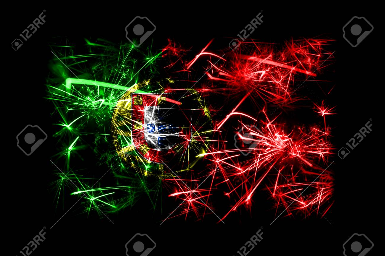 Christmas In Portugal 2019.Portugal Fireworks Sparkling Flag New Year 2019 And Christmas