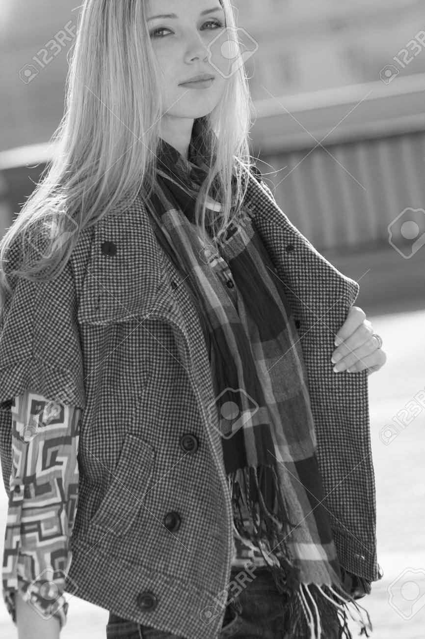 Young fashion model walking at the city Stock Photo - 10343617