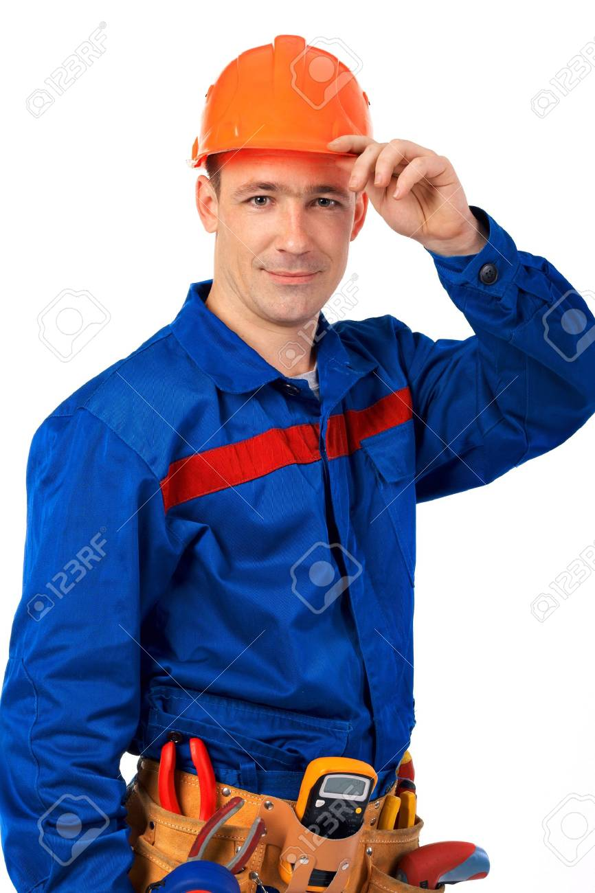 Tachnician man working class with equipment against white background Stock Photo - 10350483