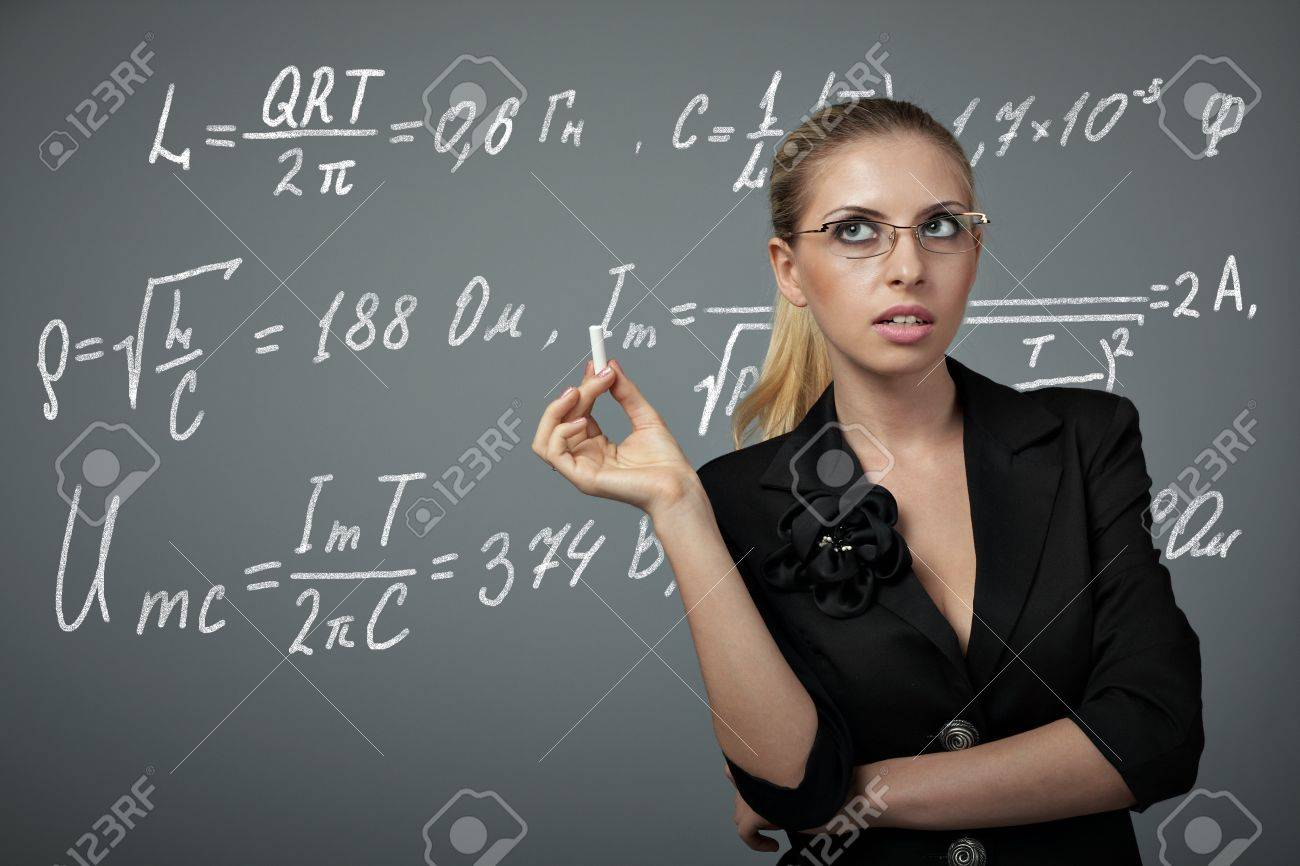 Teacher Woman With Chalk And Writing Physics Formula Stock Photo ...