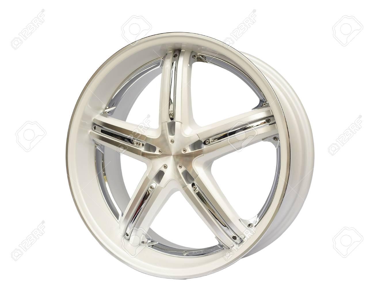 aluminium steel wheel against white background Stock Photo - 13457260