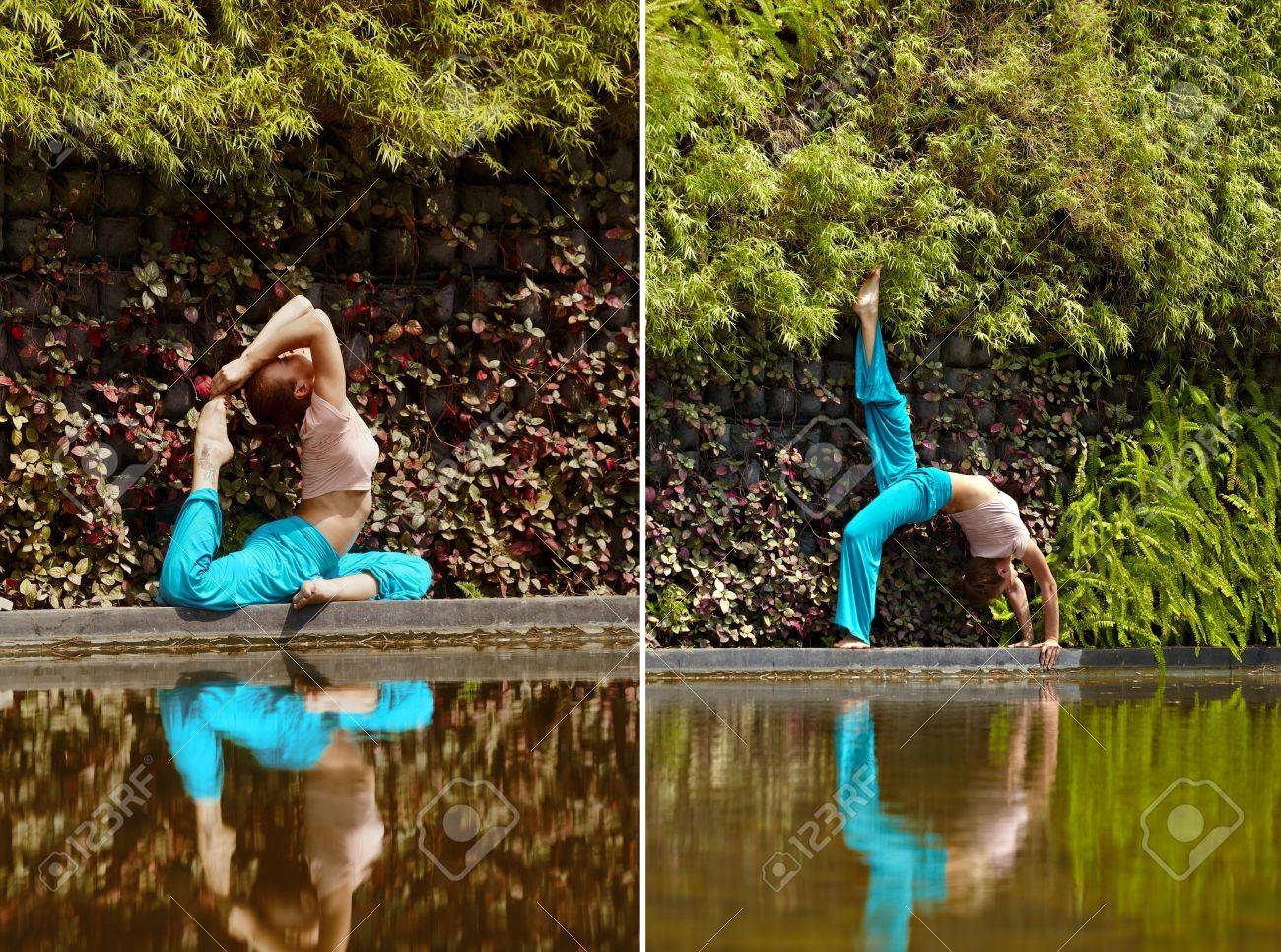 Sie Sportliche Frau In Der Natur Der Nähe Von Wasser Yoga ...