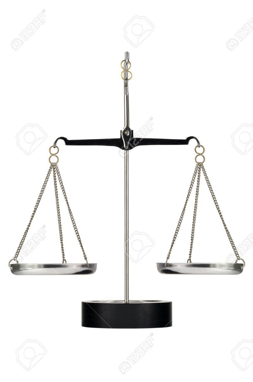 Laboratory scales on a tripod on a white background Stock Photo - 16412908