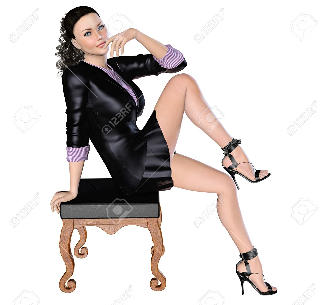 51fb264dee61 Sexy girl in black skirt and blouse with long sleeves near with chair. 3D  figure