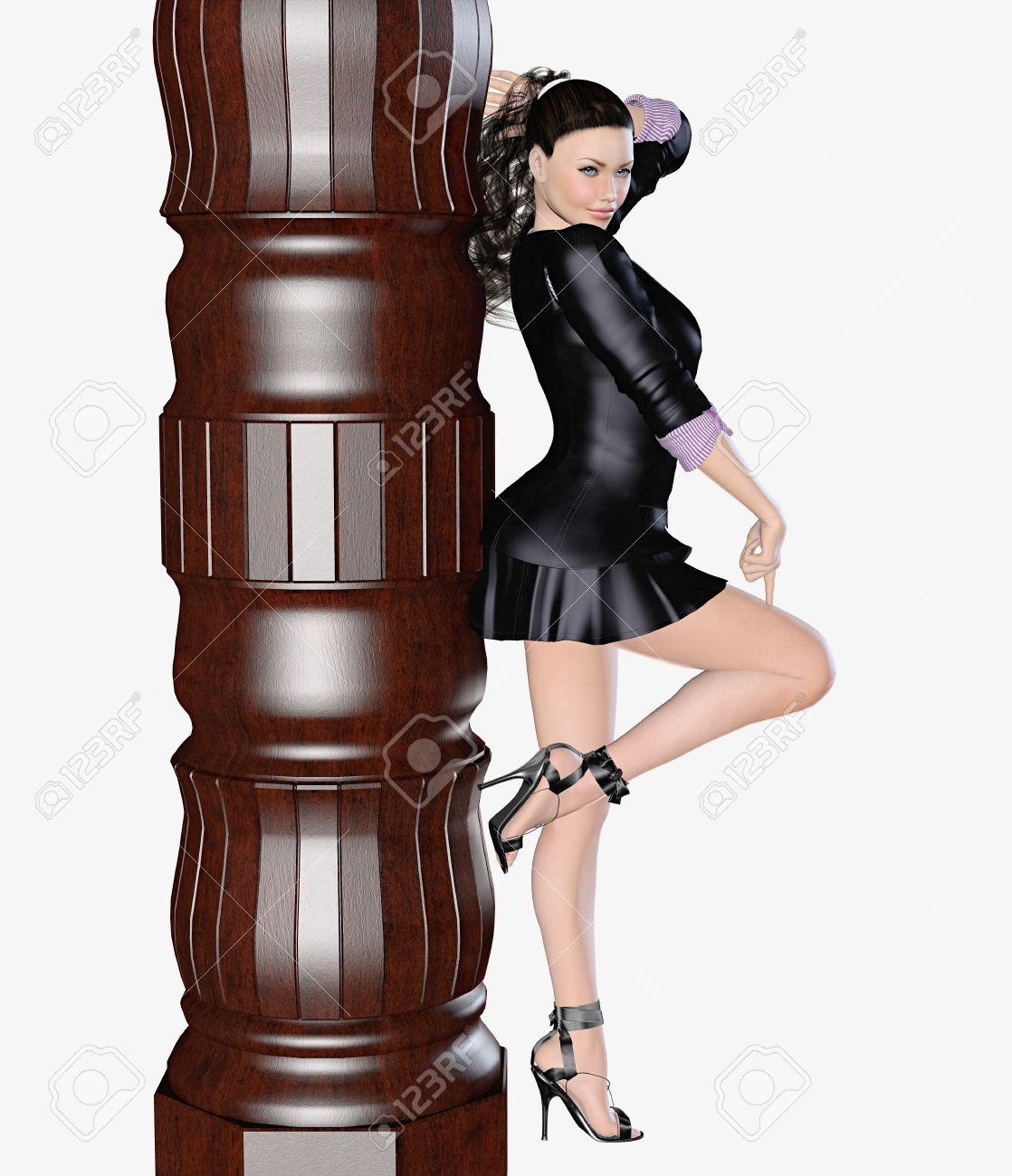 e8467e371ff2 Sexy girl in black skirt and blouse with long sleeves near the column. 3D  figure