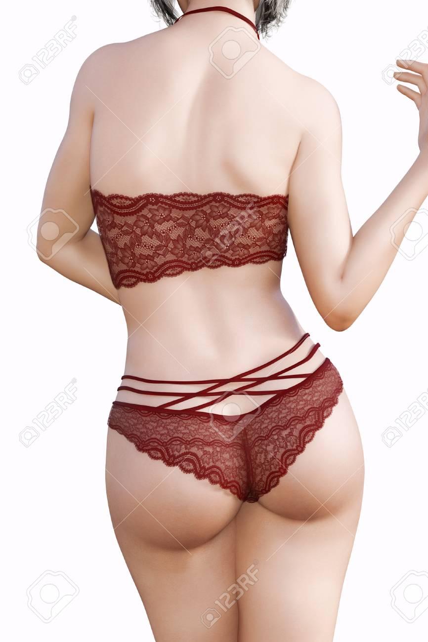 bd3be179c44 Banque d images - Fille en sous-vêtements en dentelle. Vue arrière. Culotte  transparente et soutien-gorge. Art de la mode extravagant.