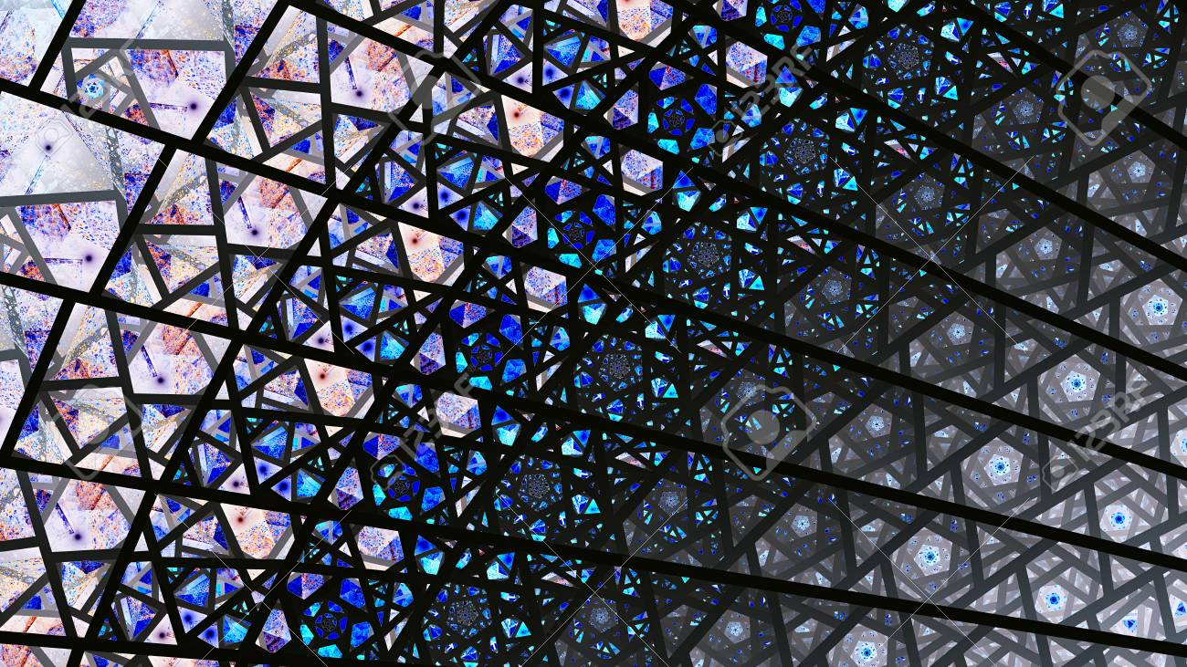 Stained Glass Windows Colored Shards Fragments 3D Surreal Illustration Sacred