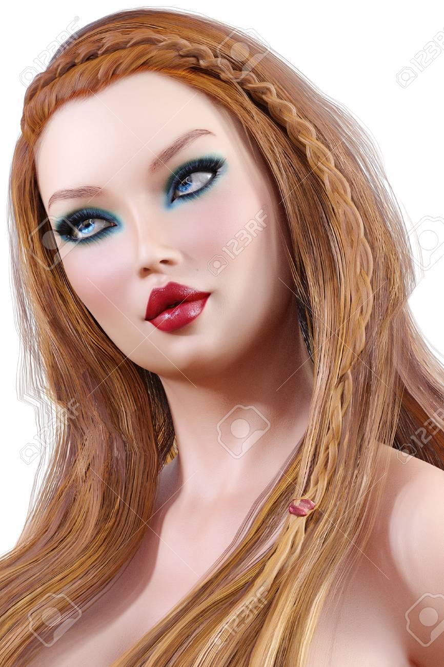 Schones Junges Madchen Des Portrats Mit Blauen Augen Und Den Roten