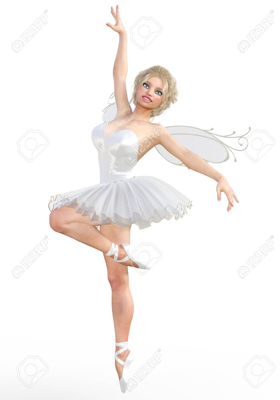 137647cfe4770 3D ballerina with wings. Forest Fairy. Butterfly. White ballet tutu. Blonde  girl